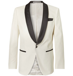 Hugo Boss Cream Hockley Slim-Fit Satin-Trimmed Cotton-Velvet Tuxedo Jacket