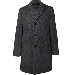 Hugo Boss Shawn Slim-Fit Herringbone Virgin Wool-Blend Coat
