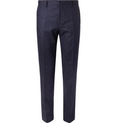 Hugo Boss Navy Jiro Slim-Fit Mélange Virgin Wool-Blend Tweed Suit Trousers