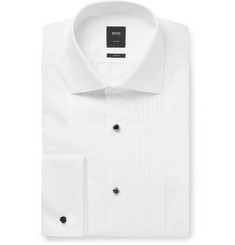 Hugo Boss White T-Colin Slim-Fit Bib-Front Double-Cuff Cotton Tuxedo Shirt