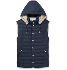 Brunello Cucinelli Slim-Fit Quilted Wool Hooded Gilet