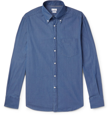 Aberdeen Low Shipping Fee Cheap Online Slim-fit Button-down Collar Cotton-chambray Shirt Brunello Cucinelli Buy Cheap Affordable mdHmPIc