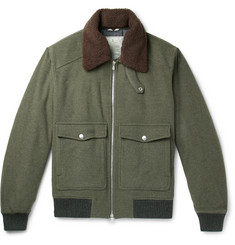 Brunello Cucinelli - Shearling-Trimmed Wool and Cashmere-Blend Felt Bomber Jacket