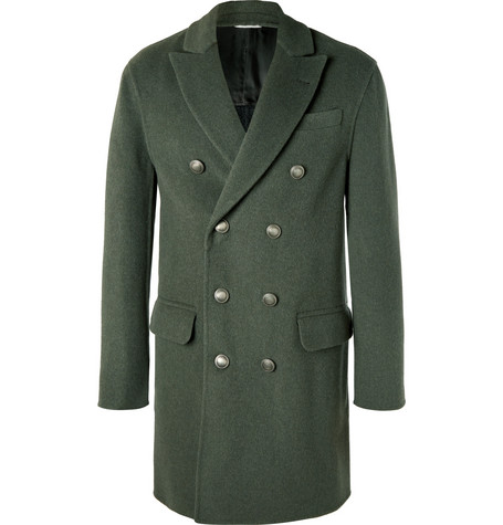 Double-breasted Merino Wool And Cashmere-blend Coat - Green