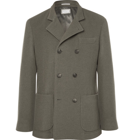 Green Unstructured Double Breasted Cashmere Blazer by Brunello Cucinelli