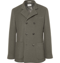 Brunello Cucinelli Green Unstructured Double-Breasted Cashmere Blazer