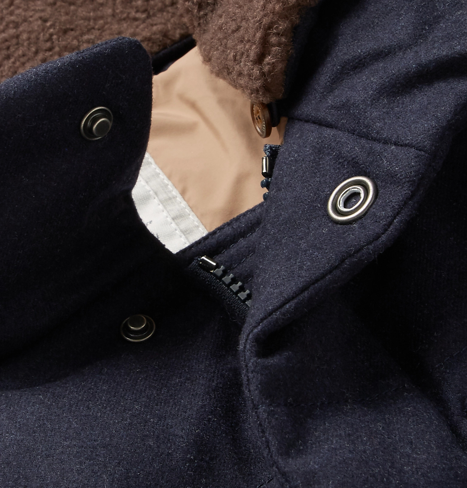 Trimmed Silk Quilted Cucinelli Faux Shearling Brunello and Wool qwvt1g4