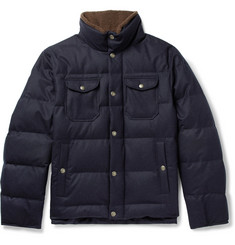 Brunello Cucinelli Faux Shearling-Trimmed Quilted Wool, Silk and Cashmere-Blend Down Jacket