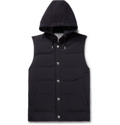 Brunello Cucinelli Quilted Shell and Cashmere Hooded Gilet