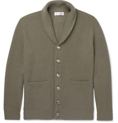 Brunello Cucinelli Shawl-Collar Ribbed Wool, Cashmere and Silk-Blend Cardigan