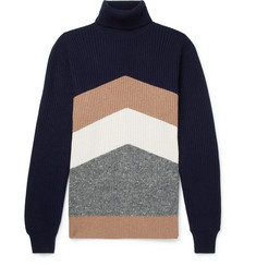 Brunello Cucinelli - Chevron Ribbed Virgin Wool, Cashmere and Silk-Blend Rollneck Sweater