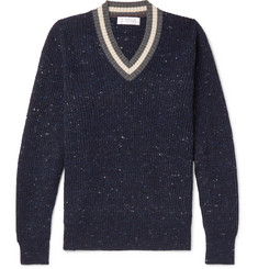 Brunello Cucinelli Stripe-Trimmed Mélange Virgin Wool-Blend Sweater