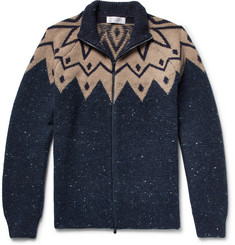 Brunello Cucinelli - Fair Isle Virgin Wool-Blend Zip-Up Cardigan