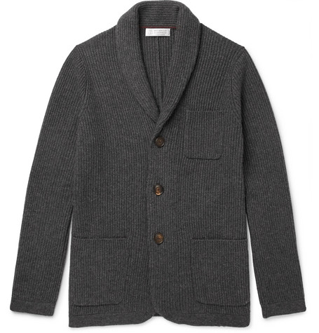 Slim-fit Shawl-collar Ribbed Cashmere Cardigan Brunello Cucinelli Buy Cheap Low Shipping QPijQrVutd