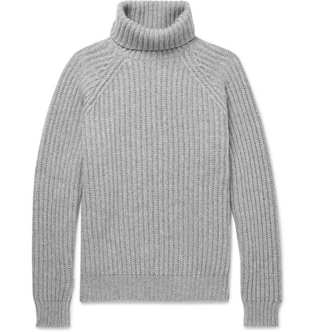 Ribbed Cashmere Rollneck Sweater by Brunello Cucinelli