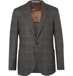 Brunello Cucinelli Grey Unstructured Prince of Wales Checked Virgin Wool and Silk-Blend Suit Jacket