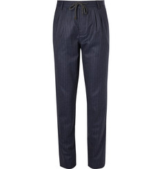 Brunello Cucinelli - Navy Chalk-Striped Wool Drawstring Suit Trousers