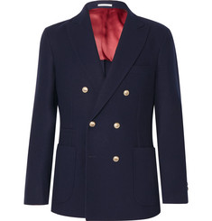 Brunello Cucinelli - Navy Unstructured Double-Breasted Wool and Cashmere-Blend Blazer