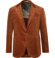 Brunello Cucinelli Brick Slim-Fit Unstructured Sea Island Cotton-Corduroy Suit Jacket