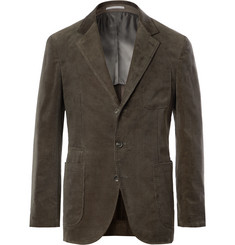 Brunello Cucinelli Army-Green Slim-Fit Unstructured Sea Island Cotton-Corduroy Suit Jacket