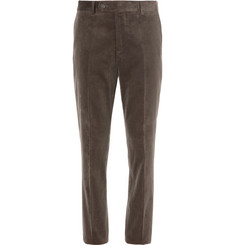 Brunello Cucinelli Army-Green Sea Island Cotton-Corduroy Suit Trousers