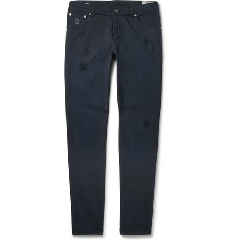 Slim-fit Distressed Stretch-denim Jeans - Navy