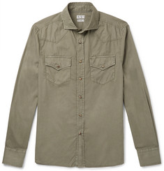 Brunello Cucinelli Cutaway-Collar Cotton Shirt