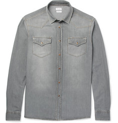 Brunello Cucinelli Slim-Fit Washed-Denim Western Shirt