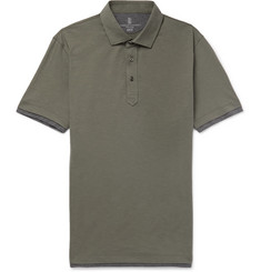 Brunello Cucinelli Layered Slub Cotton Polo Shirt