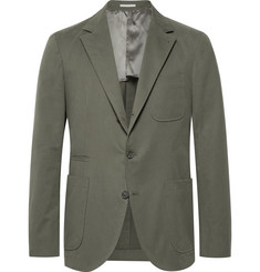 Brunello Cucinelli Army-Green Slim-Fit Stretch Cotton and Cashmere-Blend Suit Jacket