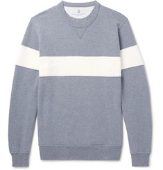 Brunello Cucinelli Striped Fleece-Back Stretch-Cotton Jersey Sweatshirt