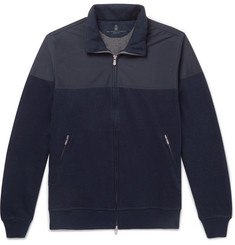 Brunello Cucinelli Shell and Cotton-Blend Jersey Zip-Up Sweatshirt