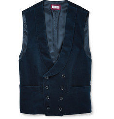 Brunello Cucinelli Slim-Fit Shawl-Collar Double-Breasted Cotton-Velvet Waistcoat