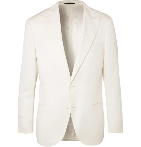 Off White Slim Fit Wool And Silk Blend Tuxedo Jacket by Brunello Cucinelli