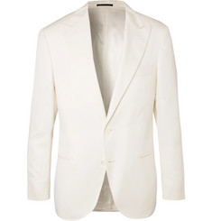 Brunello Cucinelli Off-White Slim-Fit Wool and Silk-Blend Tuxedo Jacket