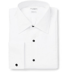 Brunello Cucinelli White Slim-Fit Bib-Front Double-Cuff Cotton-Poplin Tuxedo Shirt