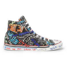Vetements Printed Canvas High-Top Sneakers