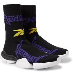 Vetements - + Reebok Sock Pump Logo-Jacquard Stretch-Knit Sneakers
