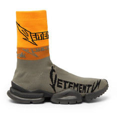 Vetements + Reebok Sock Pump Logo-Jacquard Stretch-Knit Sneakers