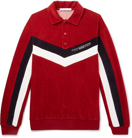 Chevron Striped Cotton Blend Velvet Polo Shirt by Givenchy