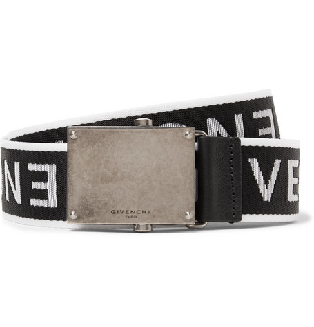 3.5cm Leather-trimmed Logo-jacquard Webbing Belt - Black