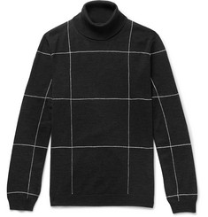 Dunhill Slim-Fit Checked Embroidered Merino Wool Rollneck Sweater