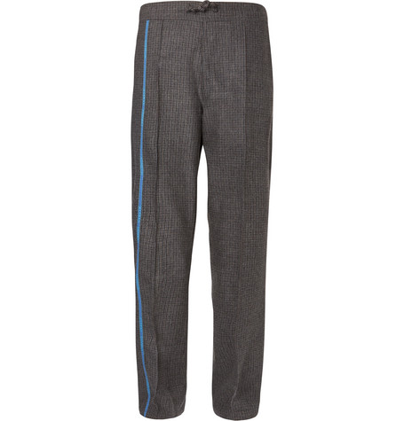 Wide Leg Striped Houndstooth Wool Drawstring Trousers by Dunhill
