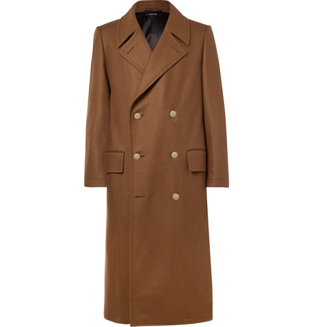 Dunhill Slim-fit Double-breasted Stretch Wool And Cashmere-blend Overcoat In Brown