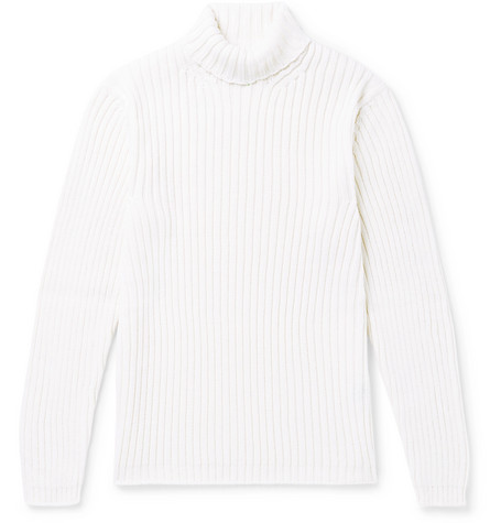 Times Sweater Slim Fit Ribbed Wool Rollneck White Merino Gay Dunhill 00 £295 PYTwqdY