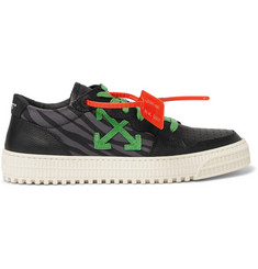 Off-White 3.0 Polo Zebra-Print Canvas, Leather and Suede Sneakers
