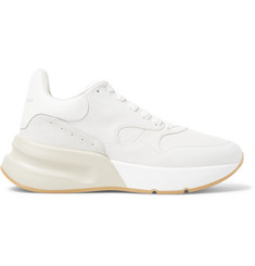 Alexander McQueen Exaggerated-Sole Suede-Trimmed Leather and Mesh Sneakers