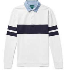 J.Crew Chambray-Trimmed Striped Cotton-Jersey Polo Shirt