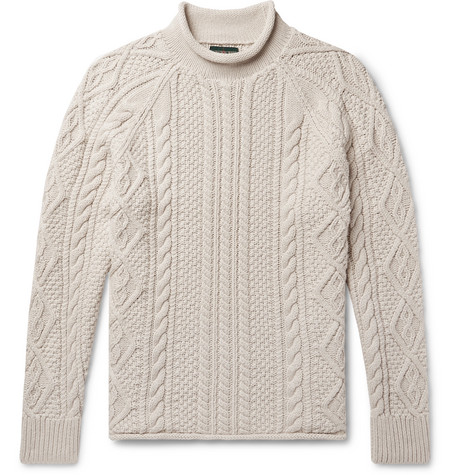 Cable Knit Cotton Rollneck Sweater by J.Crew