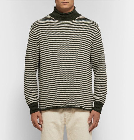 Striped Cotton Rollneck Sweater by J.Crew